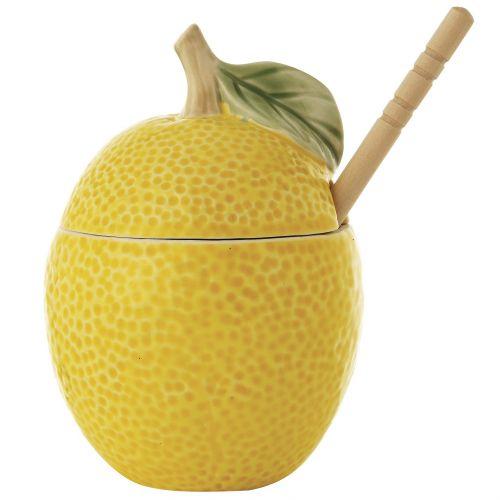 Bloomingville / Keramická dóza na med s drevenou paličkou Lemon Jar