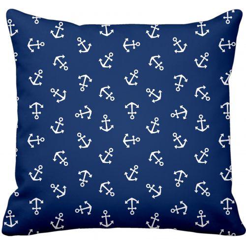 Krasilnikoff / Bavlnená obliečka na vankúš Anchor Blue & White
