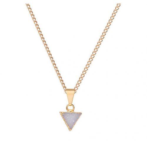 DECADORN / Retiazka s príveskom Mini Triangle Light grey/Gold