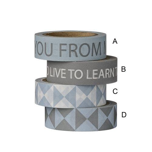 Bloomingville / Designová papírová páska Grey/White/Sky