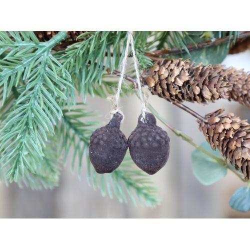 Velurová vánoční ozdoba Acorn Mocca 2,2 cm