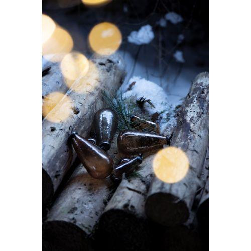 Vánoční baňka Drop Pebbled Glass Amber