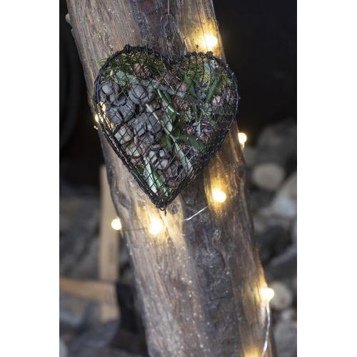 Závěsné kovové srdce Grey Wire