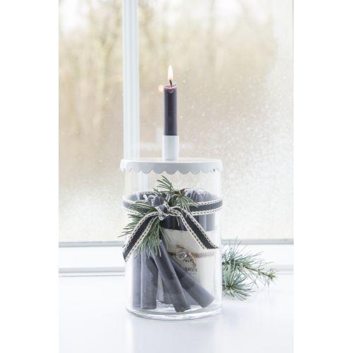 Úzká svíčka Dark grey - set 10 ks