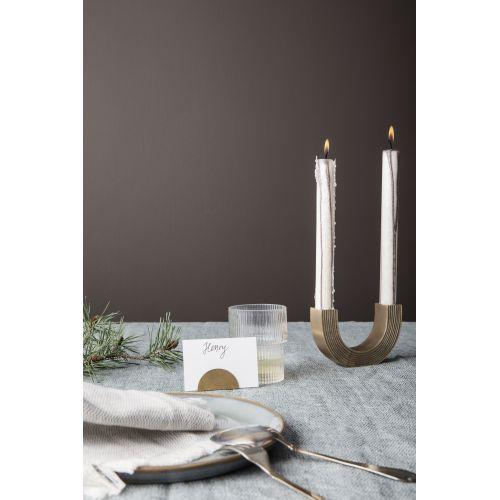 Designový mosazný svícen na dvě svíčky Arch Gold