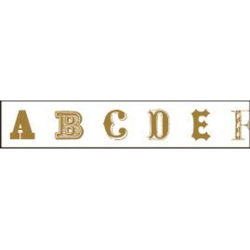Designová samolepící páska Alphabet Gold
