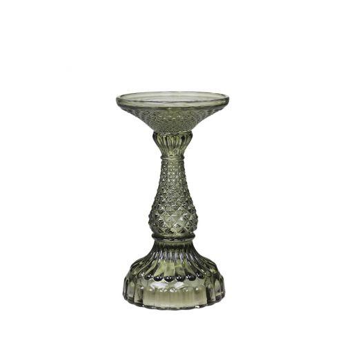 Skleněný svícen Olive Green 16cm