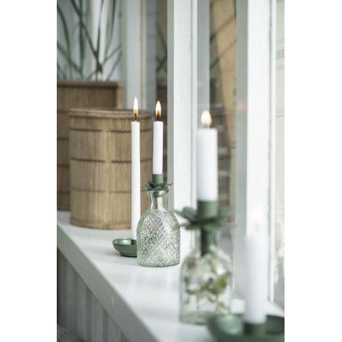 Kovový svícen Flower Olive Green