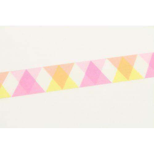 Japonská papírová páska Pink Triangle and Diamond