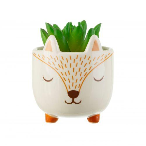 Keramický obal na květináč Woodland Fox Mini