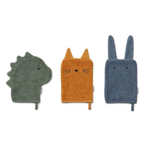 Žínky z organické bavlny Dino, Cat & Rabbit