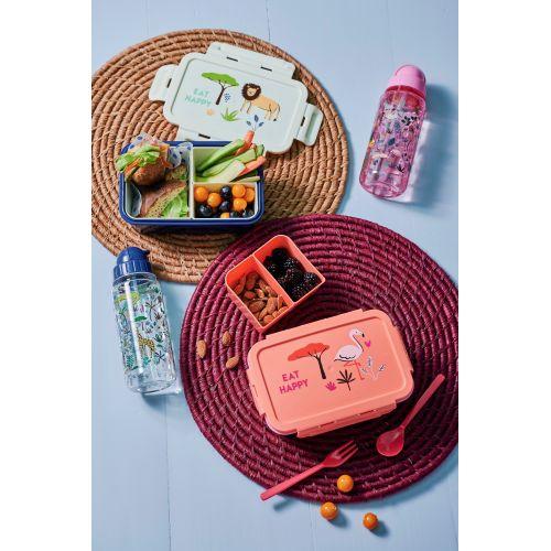 Dětská lahev s brčkem Jungle Animals Pink 450 ml