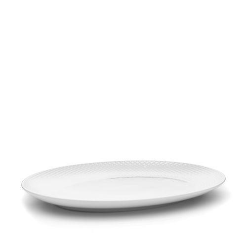 Porcelánový servírovací talíř Rhombe Oval White
