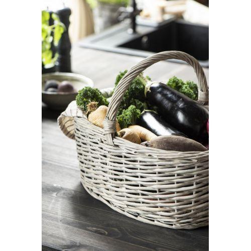 Proutěný košík Oval Handle Grey Willow