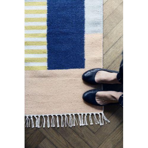 Vlněný koberec White Lines L