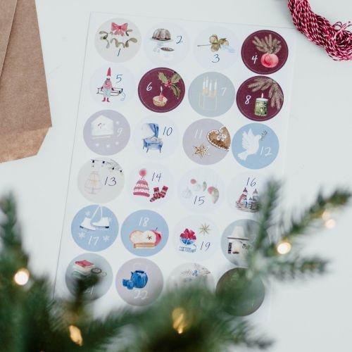 Samolepky na adventní kalendář - Set 24 ks