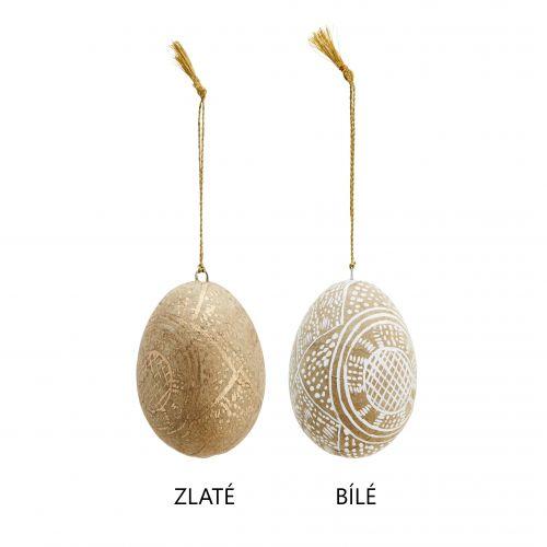 Velikonoční vajíčko Handpainted Gold/White