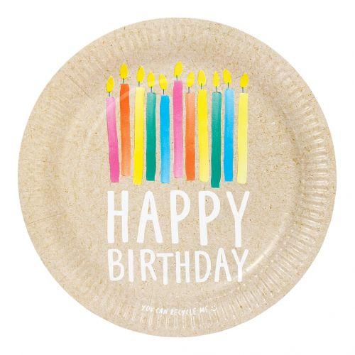 Papírové talíře Happy Birthday Recyclable – 12 ks