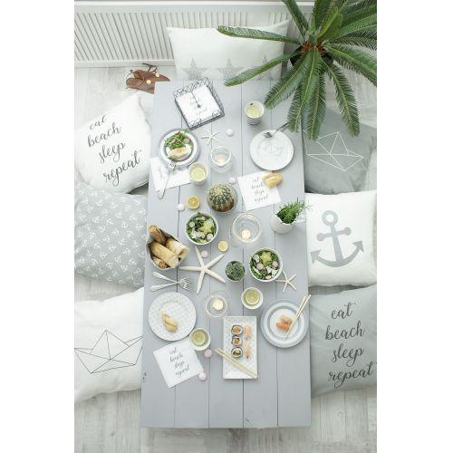 Bavlněný povlak na polštář Eat, Beach, Sleep, Repeat