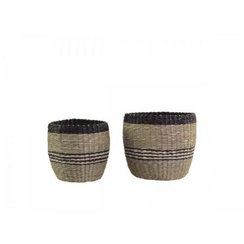 Úložný košík Seagrass Black Stripes