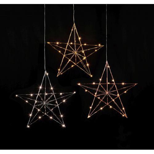 Kovová svítící hvězda Line Chrome