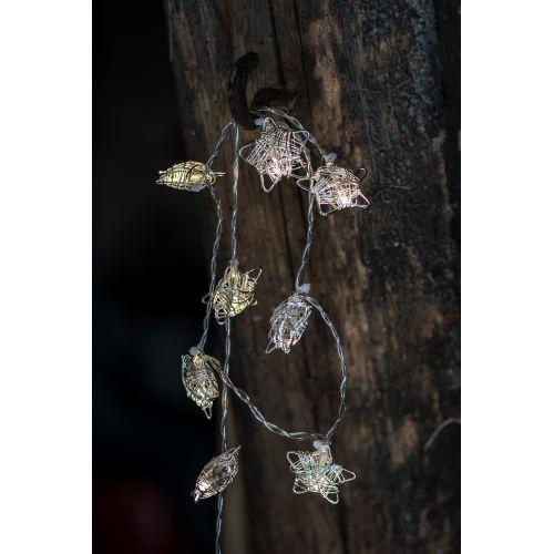 Světelný řetěz s kovovými hvězdičkami