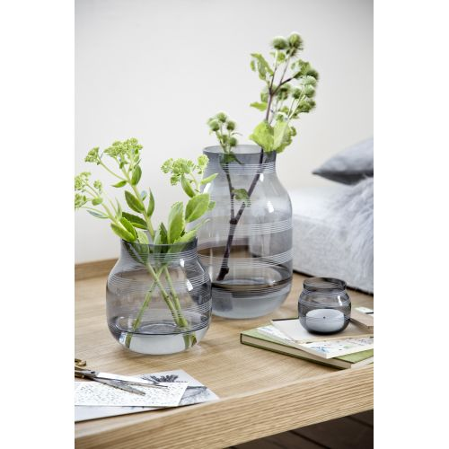 Skleněná váza Omaggio Steel Blue 17 cm