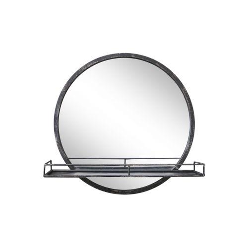 Zrcadlo v kovovém rámu s poličkou Antique Coal