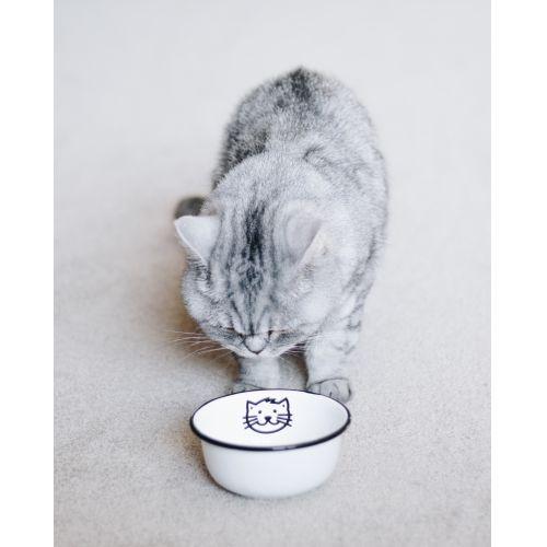 Menší smaltovaná miska Cat