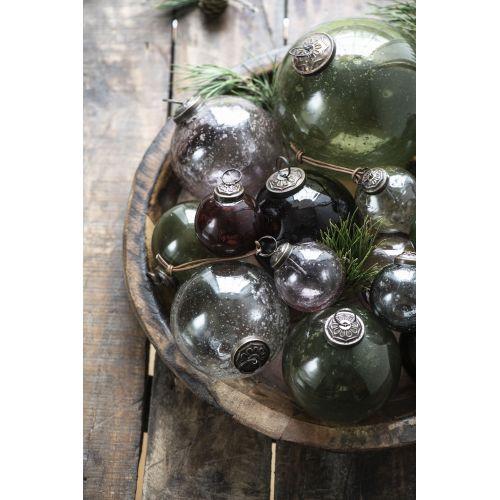 Vánoční baňka Pebbled Glass Olive 9,5cm