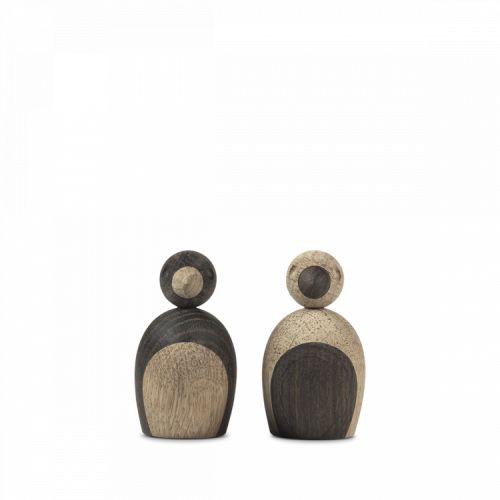Dřevěný ptáček Natural and Smoked Oak Wood - Set 2 ks