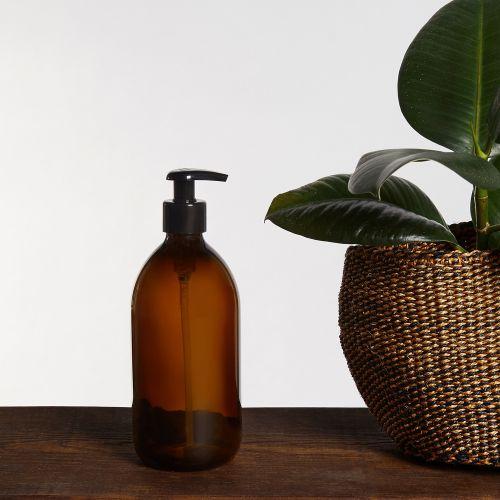 Skleněný zásobník na mýdlo s pumpičkou Amber 250 ml