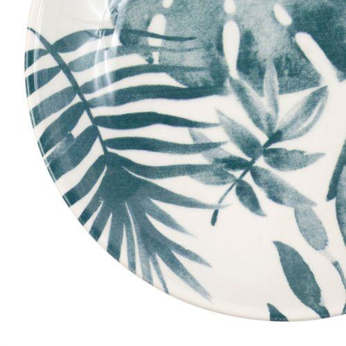 Hluboký keramický talíř Blue Leaf Printing