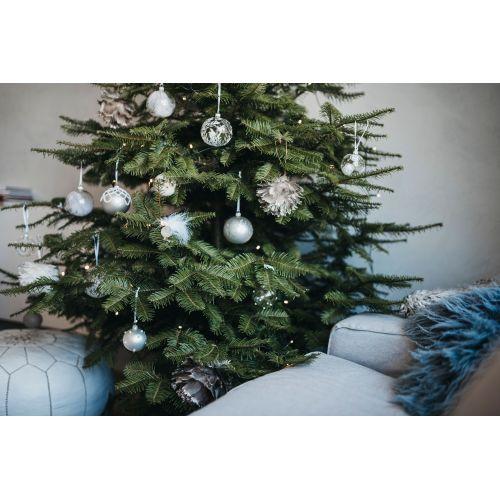 Vánoční baňka s pírkem - 8 cm