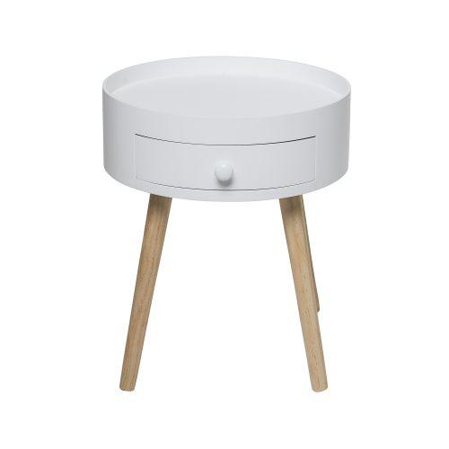 Kulatý odkládací stolek - bílý