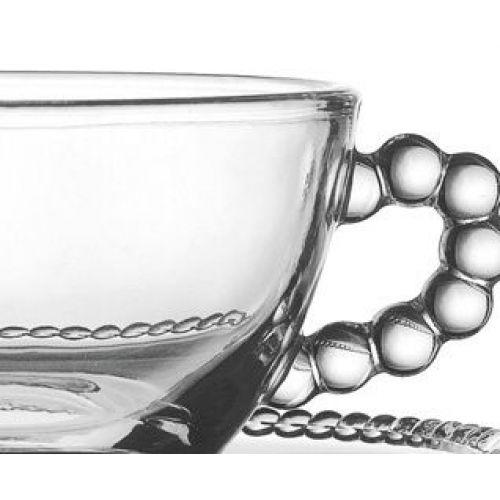 Skleněný šálek s podšálkem Pearl 1