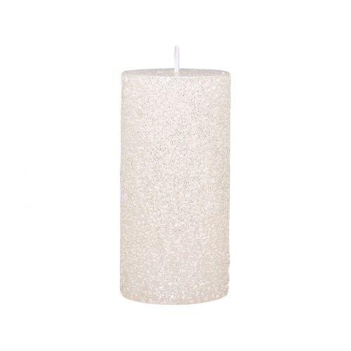 Kulatá svíčka Rustic Glitter Cream 12 cm