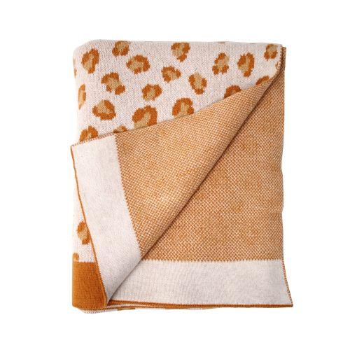 Dětská pletená deka z organické bavlny Brown Leopard