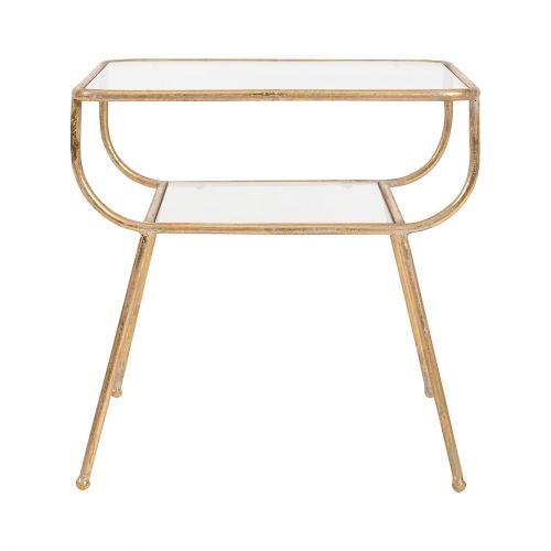 Zlatý kovový stolek - Métal et Verre