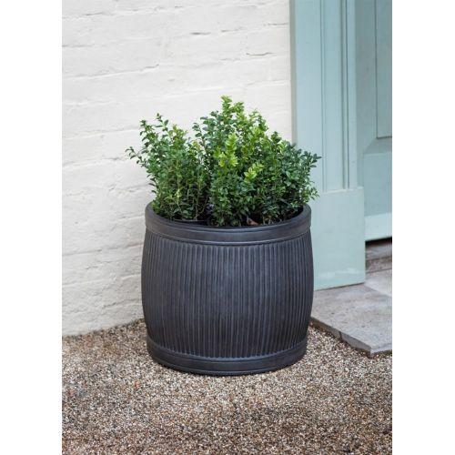 Černý zahradní květináč Fibre Clay