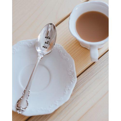 Postříbřená čajová lžička Mám tě rád