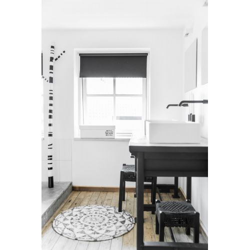 Bavlněná koupelnová předložka/kobereček Round Black