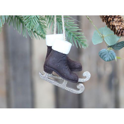 Velurová vánoční ozdoba Skates Mocca 7,5 cm