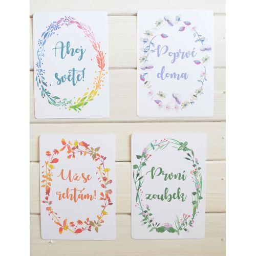 Milníkové kartičky pro miminka 1 - 12 měsíců