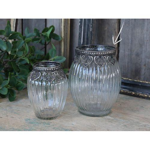 Skleněná vázička Glass/Silver decor
