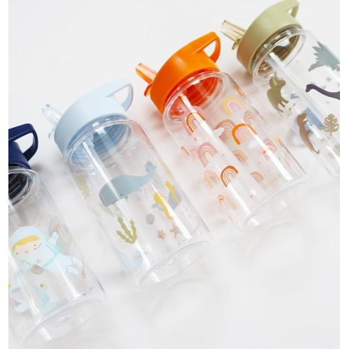 Dětská lahev s brčkem Ocean 450 ml + samolepky