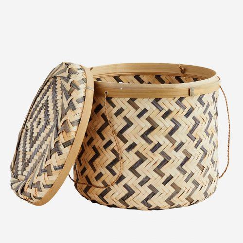 Bambusový košík Bamboo Boxes Natural & Grey