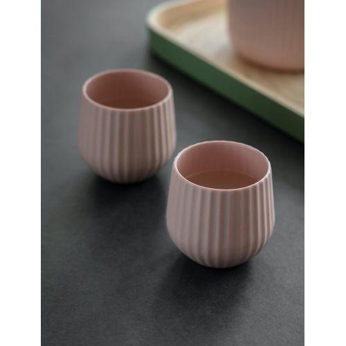 Keramické hrnečky Linear Dusty Pink - set 2 ks