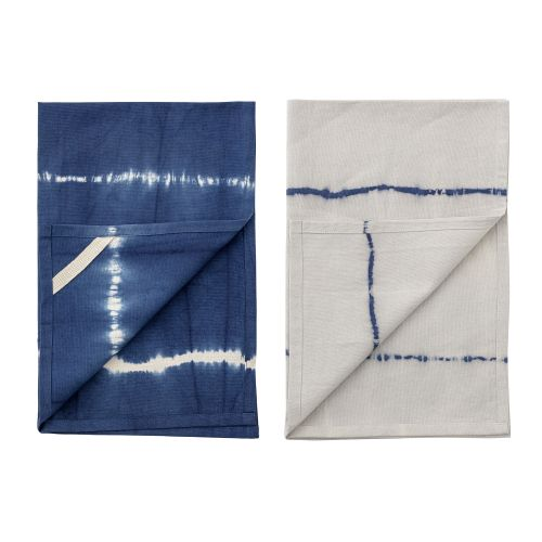 Bavlněná utěrka Blue Tie Dye 70×45 cm - set 2 ks