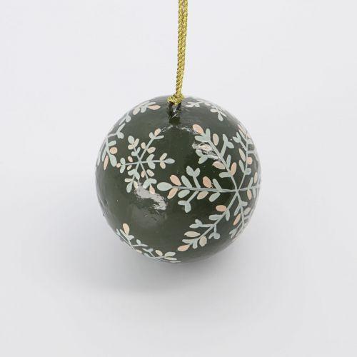Vánoční baňka Mache Green 5 cm